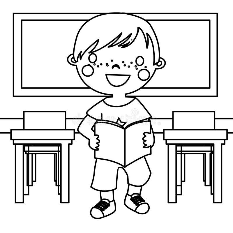 Muchacho en página del colorante de la sala de clase libre illustration
