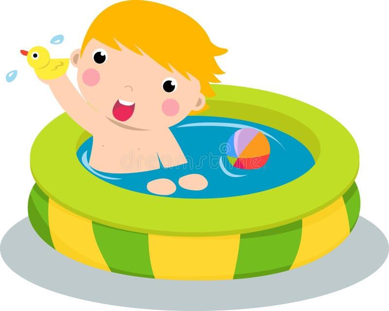 Muchacho en piscina inflable libre illustration