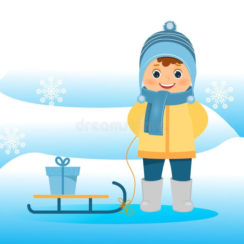 Muchacho en ropa del invierno con el trineo en fondo azul stock de ilustración