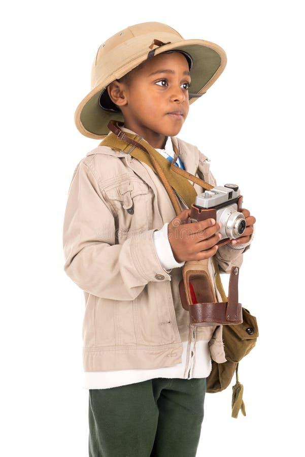 Muchacho en ropa del safari foto de archivo