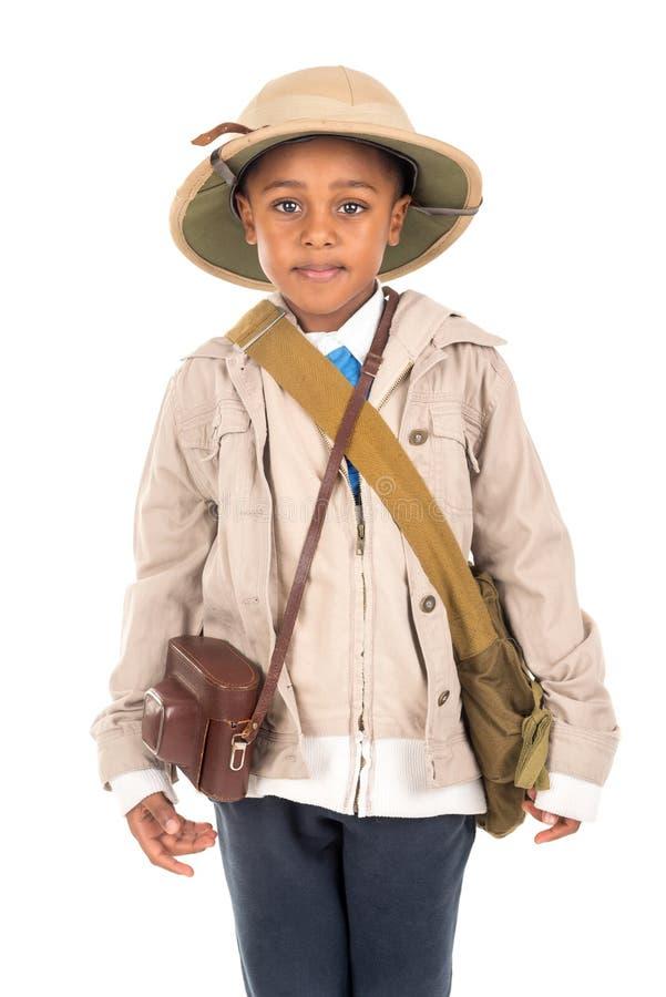 Muchacho en ropa del safari imagenes de archivo