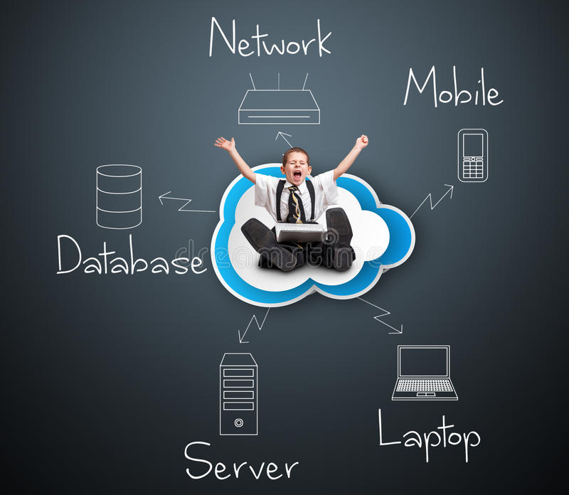 Diagrama computacional de la nube stock de ilustración