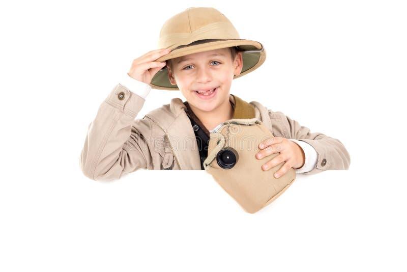 Muchacho en traje del safari fotografía de archivo