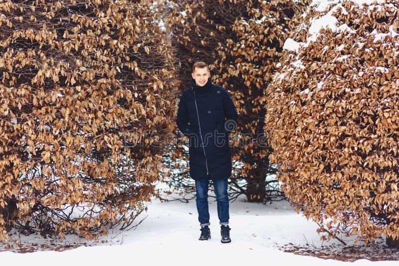 muchacho en una chaqueta del invierno entre los árboles del invierno imagen de archivo