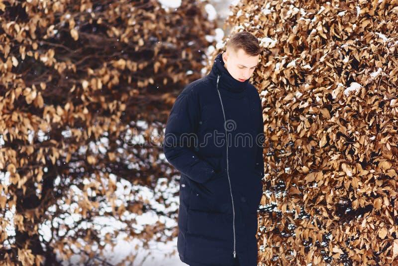 muchacho en una chaqueta del invierno entre los árboles del invierno imagenes de archivo