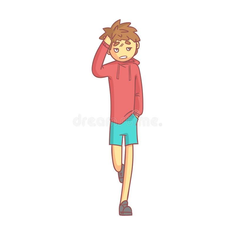 Muchacho en una sudadera con capucha roja y pantalones cortos azules que tocan su cabeza que sufre un dolor de cabeza doloroso Pe ilustración del vector