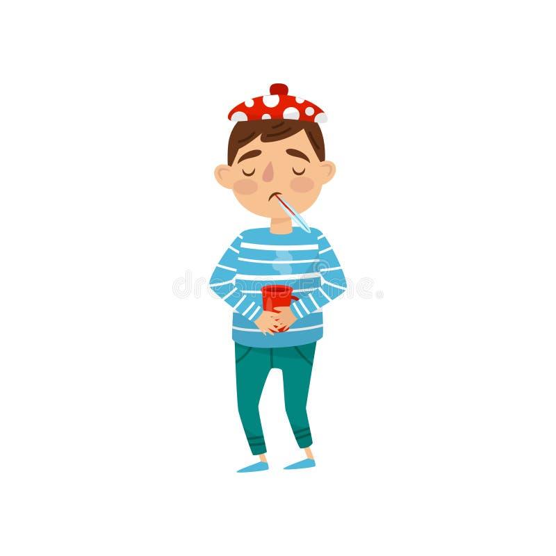 Muchacho enfermo con la taza de té, de termómetro y de compresa calientes Niño con síntomas del frío y de la gripe Diseño plano d ilustración del vector