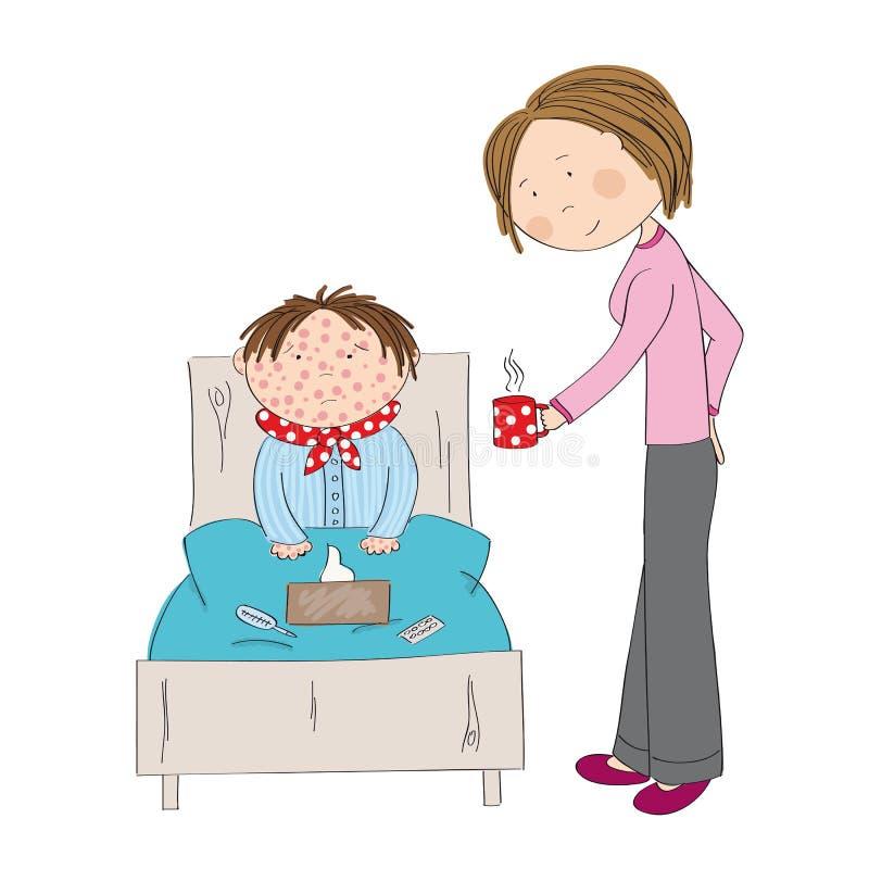 Muchacho enfermo con varicela, el sarampión, el rubeola o la erupción de piel ilustración del vector