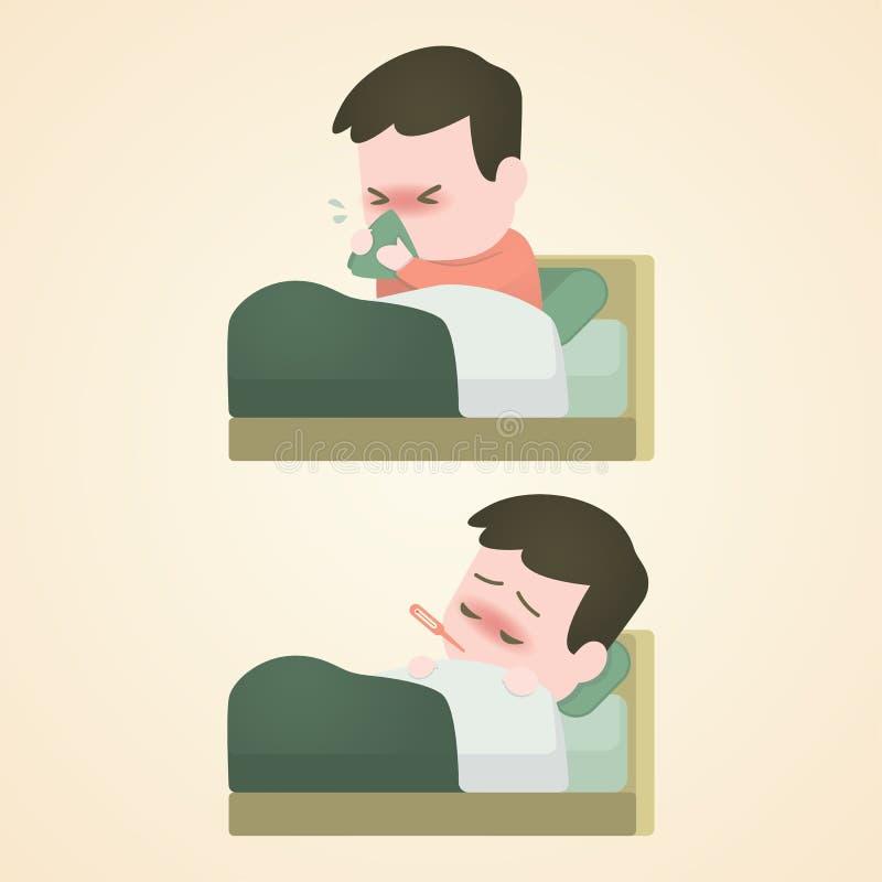 Muchacho enfermo del niño que miente en cama con un termómetro en boca y estornudo con la fiebre, ejemplo del vector stock de ilustración