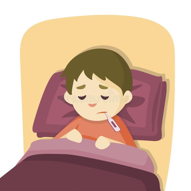 Muchacho enfermo del niño que miente en cama con un termómetro en boca y sensación tan mala con la fiebre, ejemplo de la historie stock de ilustración