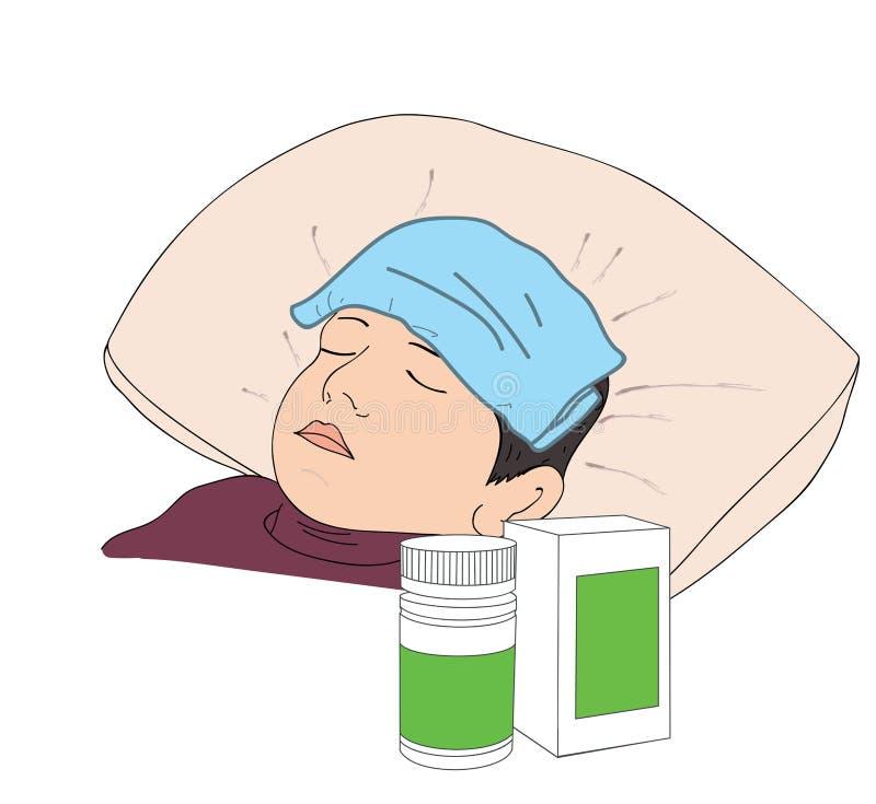 Muchacho enfermo en cama con síntomas de la fiebre Ilustración del vector ilustración del vector