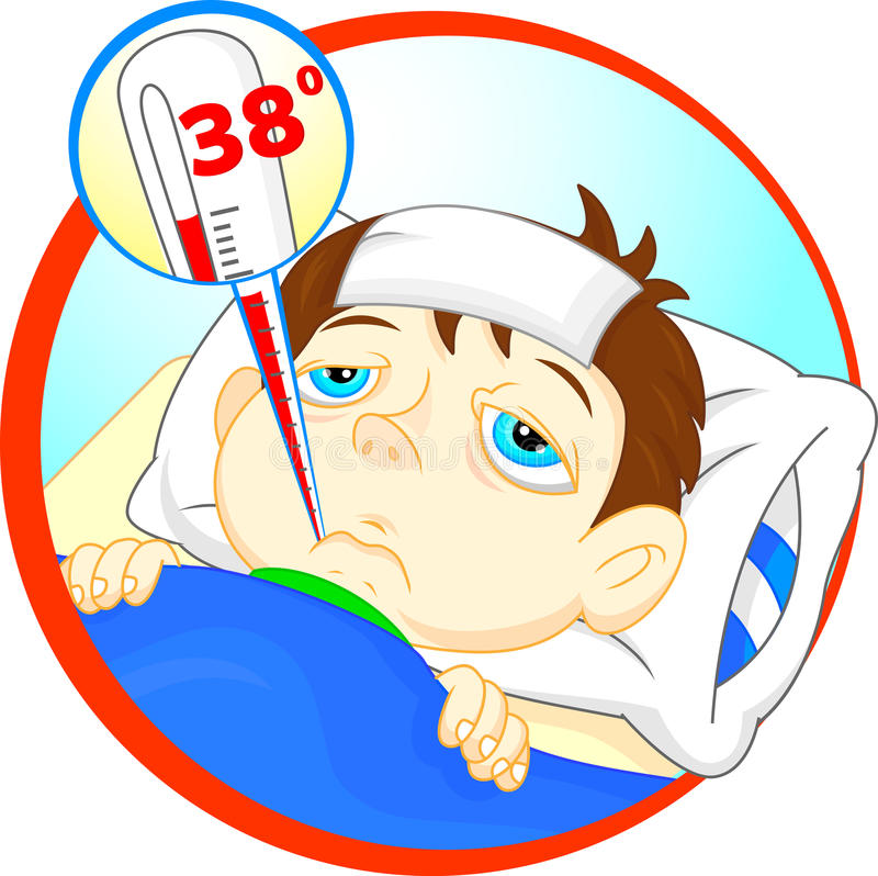Muchacho enfermo en cama con síntomas de la fiebre y del termómetro en su boca stock de ilustración