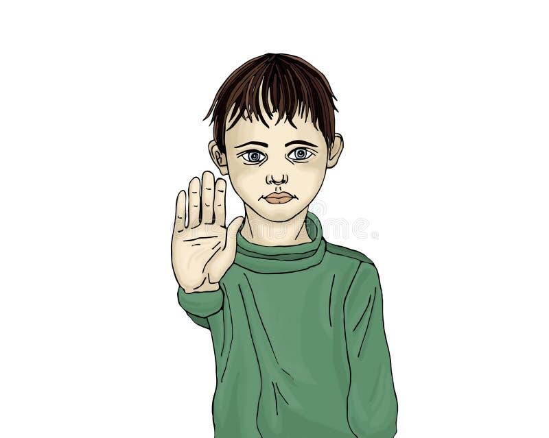 Muchacho enojado e infeliz que muestra a muestra de la mano bastantes Contra violencia ilustración del vector