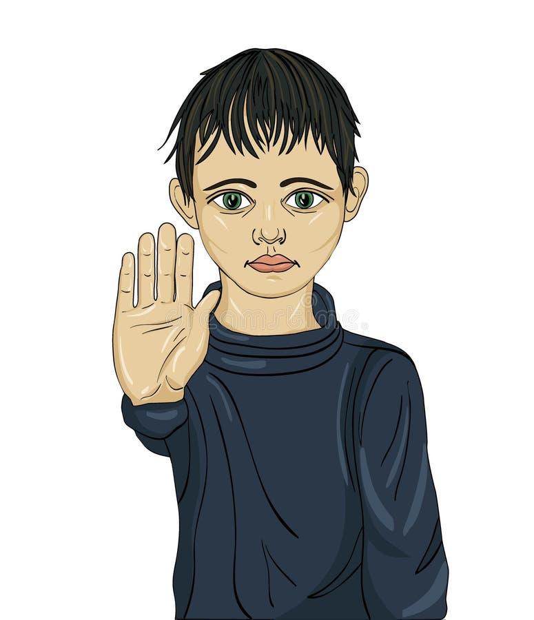 Muchacho enojado e infeliz que muestra a muestra de la mano bastantes Contra violencia stock de ilustración