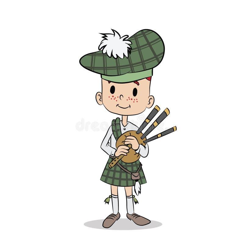 Muchacho escocés joven con la gaita ilustración del vector