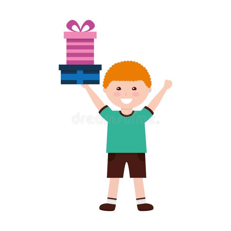 Muchacho feliz con cumpleaños de los regalos ilustración del vector