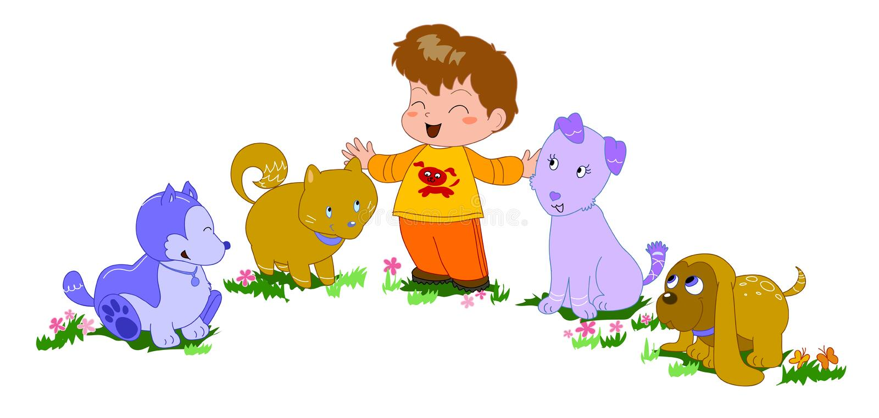 Muchacho feliz con la ilustración perro-vectorial stock de ilustración