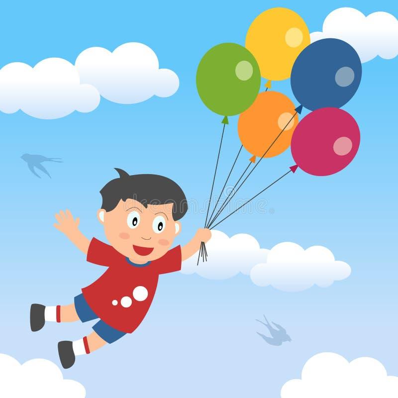 Muchacho feliz con los globos stock de ilustración