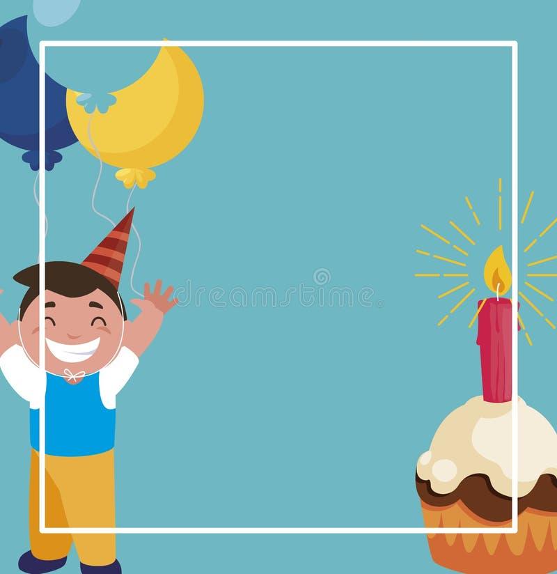 Muchacho feliz con los globos helio y magdalena del cumpleaños libre illustration