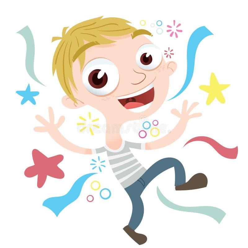 muchacho feliz de la historieta stock de ilustración