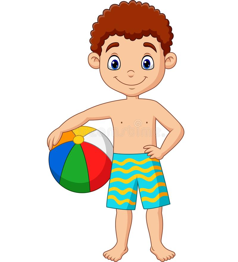 Muchacho feliz de la historieta que sostiene la pelota de playa ilustración del vector
