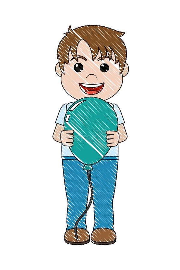 Muchacho feliz del garabato con estilo agradable del globo stock de ilustración