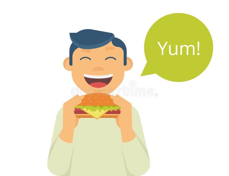 Muchacho feliz que come una hamburguesa grande stock de ilustración