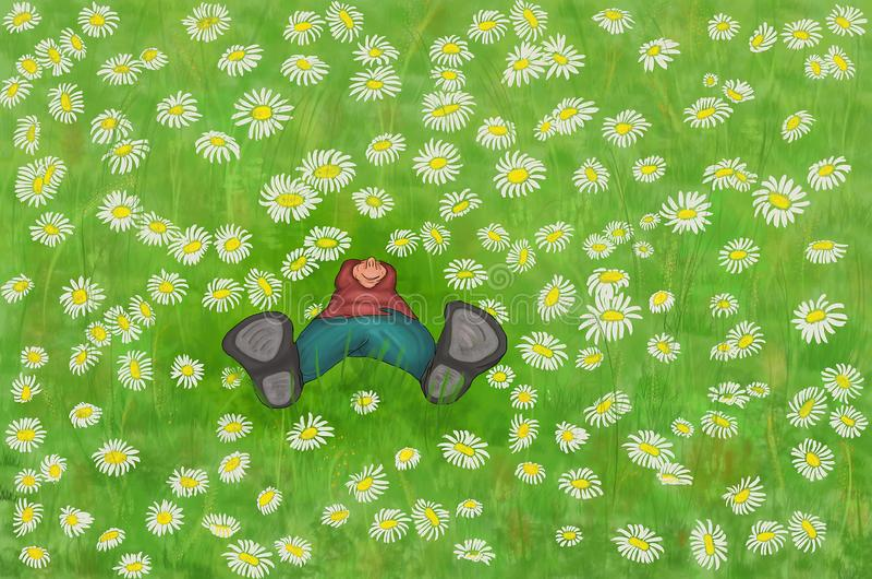 Muchacho feliz que disfruta del campo de la margarita Muchacho agradable que se acuesta en el prado de flores, relajación al aire ilustración del vector
