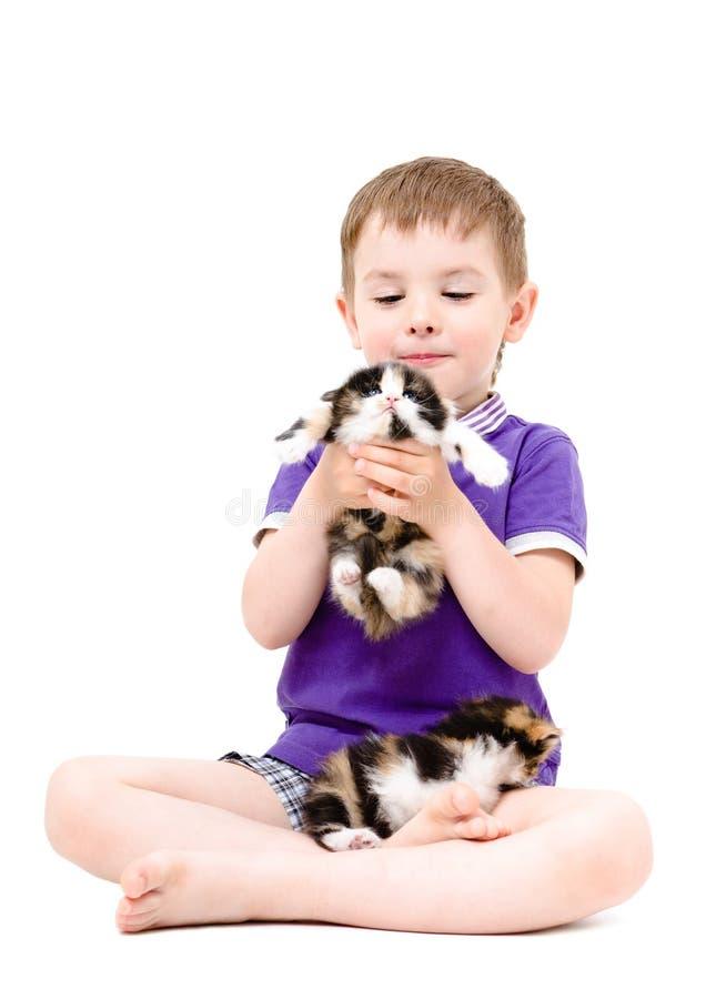 Muchacho feliz que juega con los gatitos foto de archivo libre de regalías