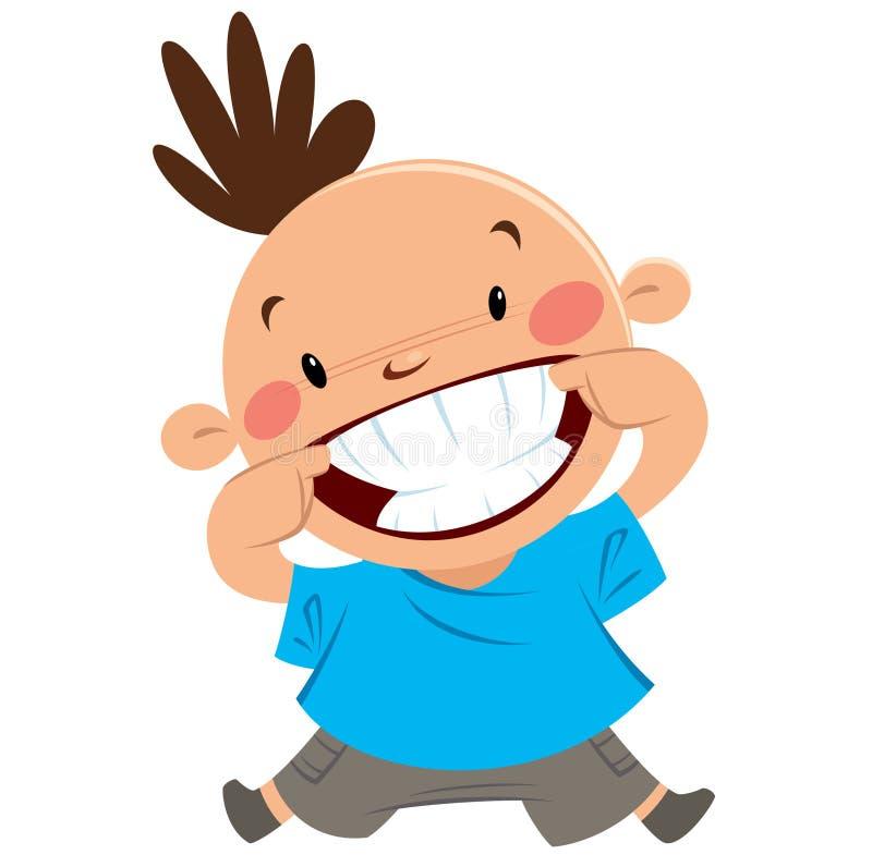 Muchacho feliz que sonríe señalando su sonrisa y dientes ilustración del vector