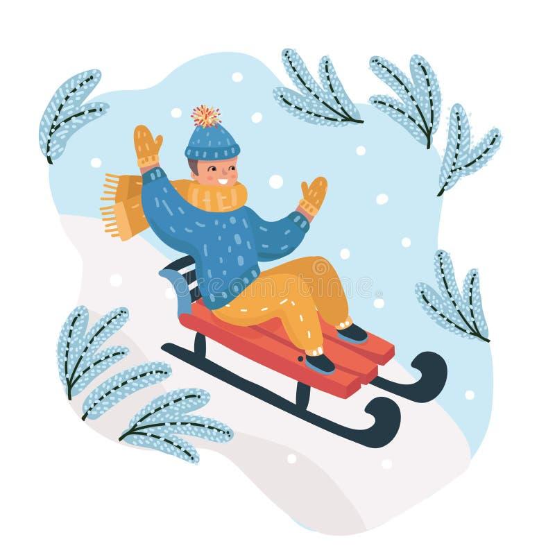Muchacho feliz sledding abajo de la colina en la nieve ilustración del vector
