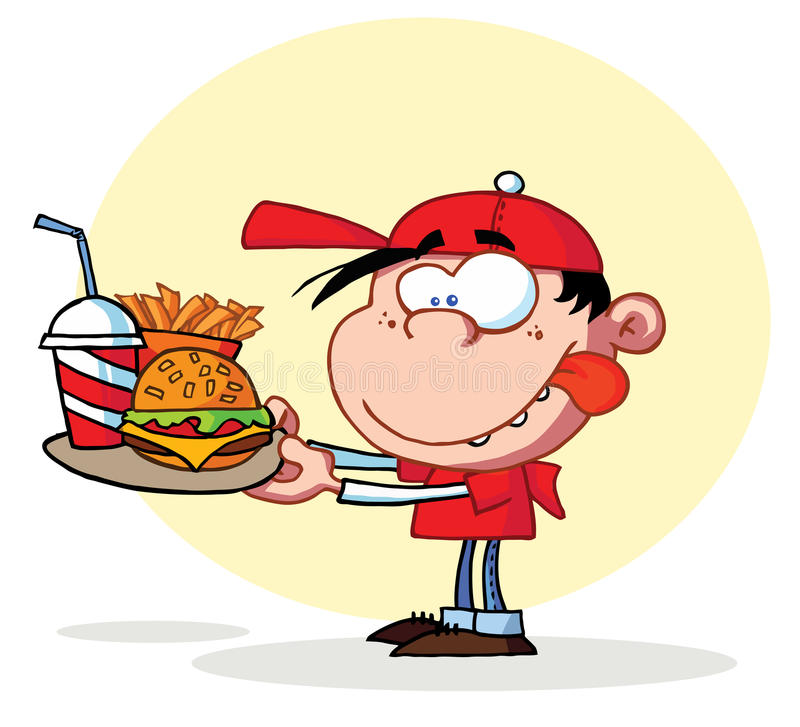 Muchacho hambriento que mira fijamente la placa de los alimentos de preparación rápida stock de ilustración