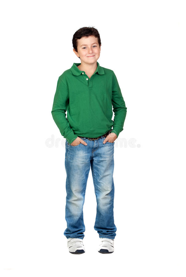 Muchacho hermoso vestido en verde imagen de archivo
