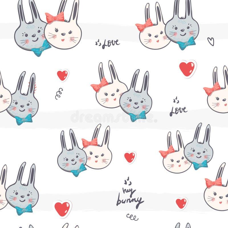 Muchacho inconsútil del conejo de la historieta del modelo, ejemplo del vector de la muchacha conejito lindo romántico Vector de  ilustración del vector