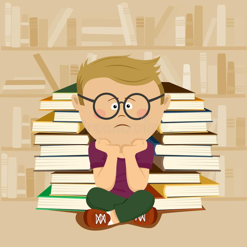Muchacho infeliz del empollón que se sienta delante de la pila de libros y de estante en biblioteca escolar ilustración del vector