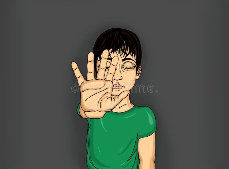 Muchacho infeliz que muestra a muestra de la mano bastantes Contra violencia parada ilustración del vector