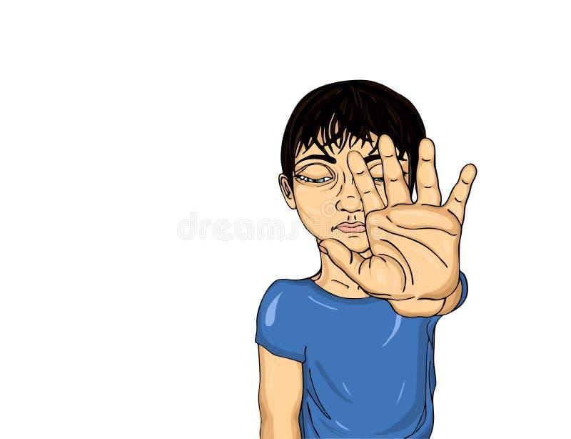 Muchacho infeliz que muestra a muestra de la mano bastantes Contra violencia parada stock de ilustración