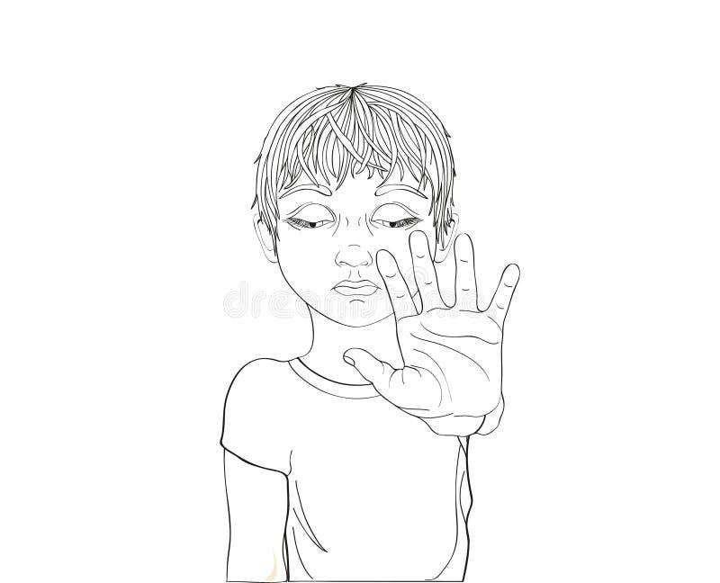 Muchacho infeliz que muestra a muestra de la mano bastantes Contra violencia Pare la violencia ilustración del vector