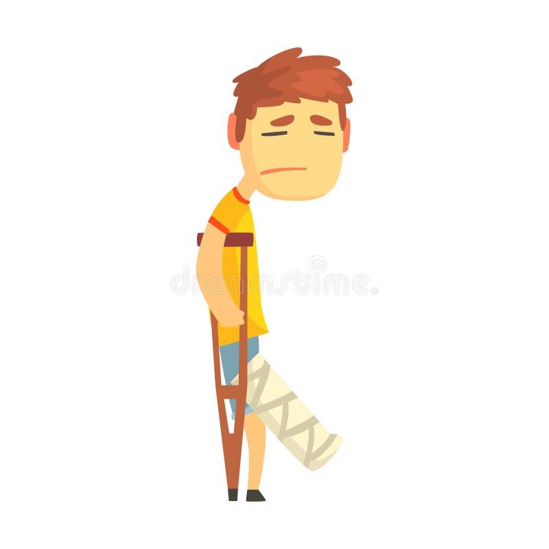 Muchacho infeliz triste con la pierna quebrada que camina con el ejemplo del vector del personaje de dibujos animados de las mule ilustración del vector