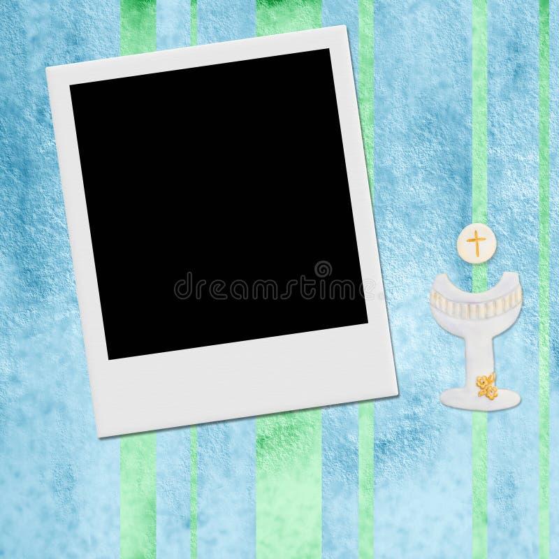 Muchacho inmediato de la tarjeta de la invitación del marco de la foto de la comunión stock de ilustración