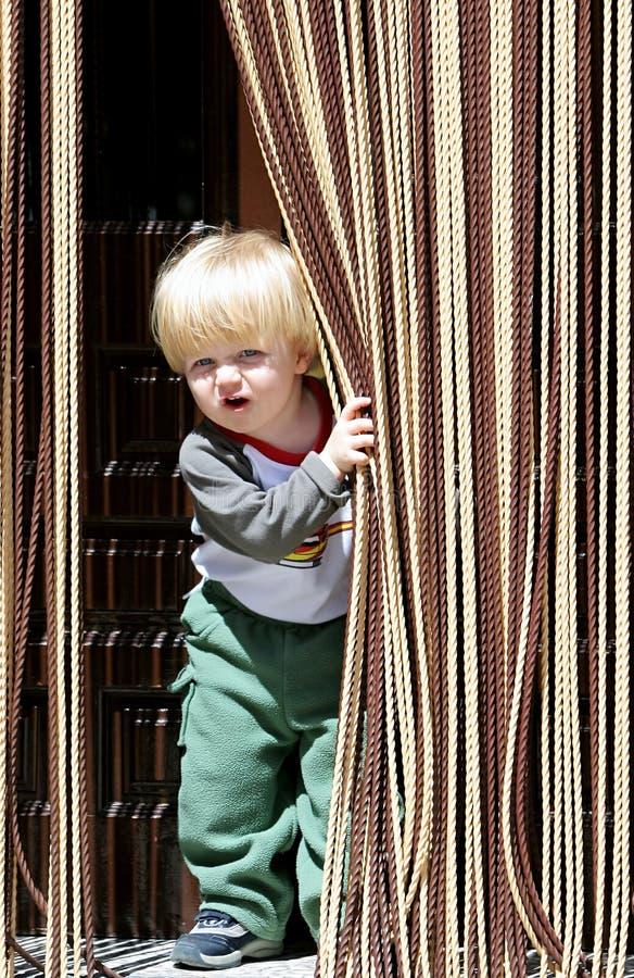 Muchacho joven con el pelo rubio o rubio y los ojos azules que miran hacia fuera de detrás la cortina fotos de archivo libres de regalías