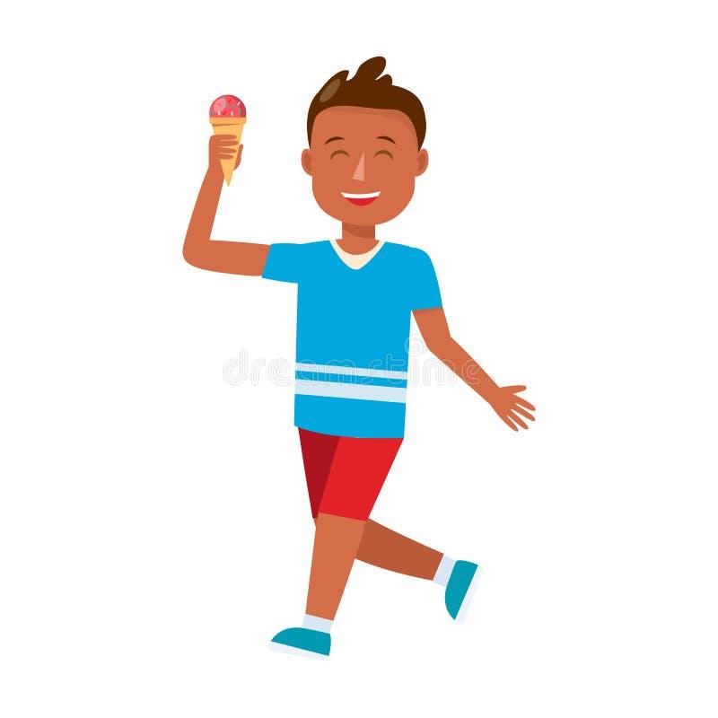 Muchacho joven con el personaje de dibujos animados del cono de helado stock de ilustración