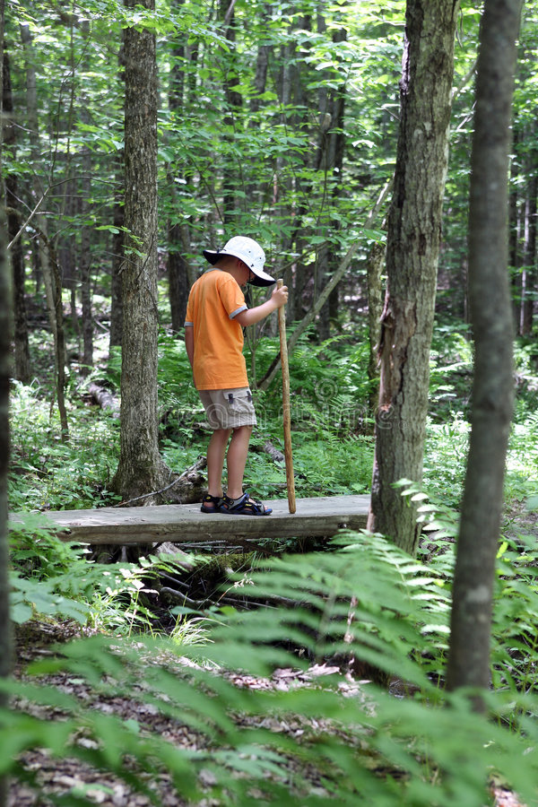 Muchacho joven con ir de excursión el palillo imagen de archivo
