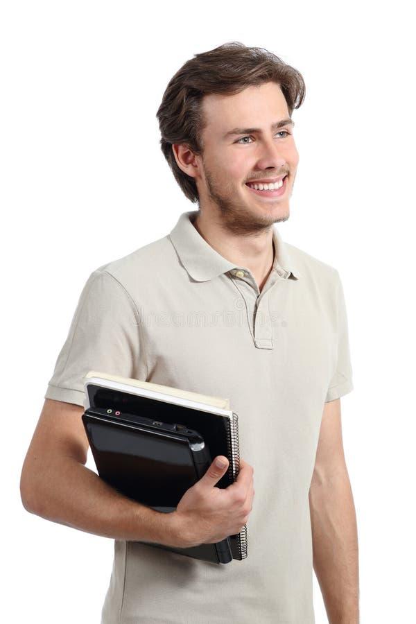 Muchacho joven del adolescente del estudiante que mira lejos fotografía de archivo
