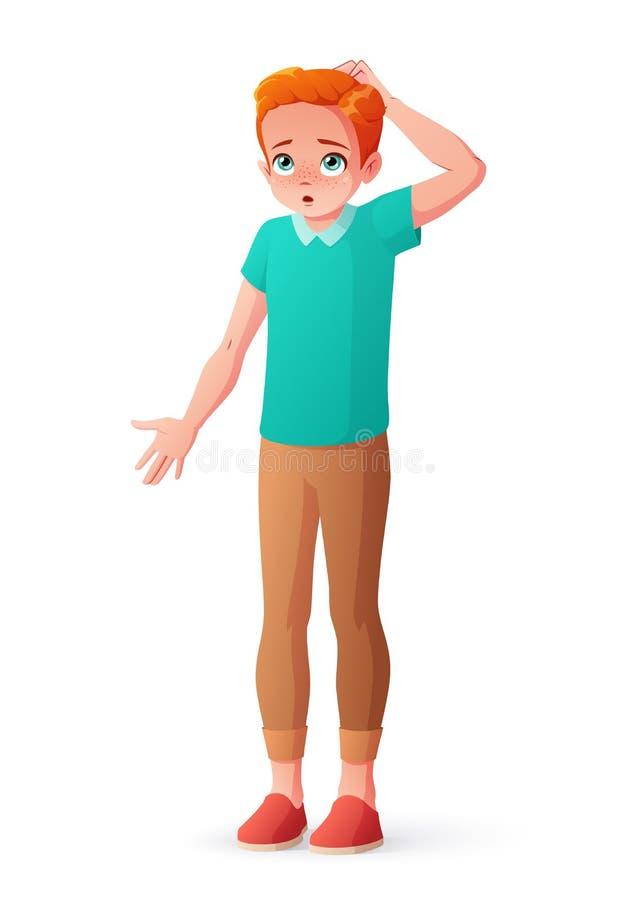 Muchacho joven del pelirrojo que rasguña a la cabeza que encoge hombros Ilustración aislada del vector stock de ilustración