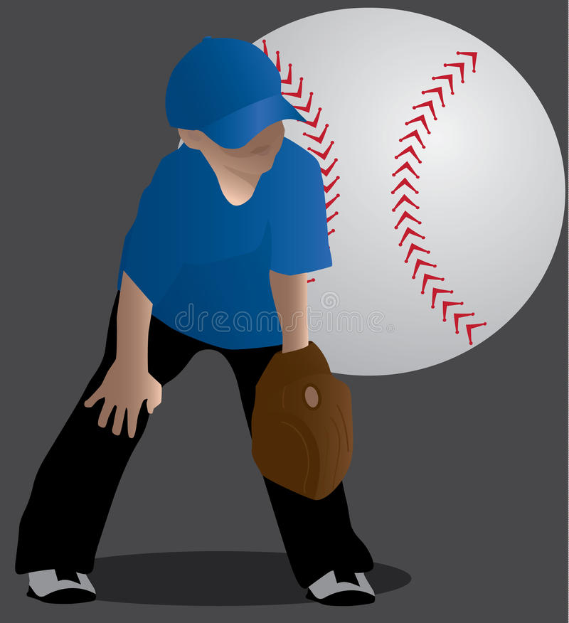 Muchacho joven listo a jugar a béisbol stock de ilustración