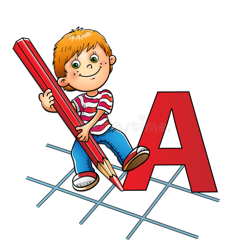 Muchacho joven que dibuja una letra grande en lápiz rojo stock de ilustración