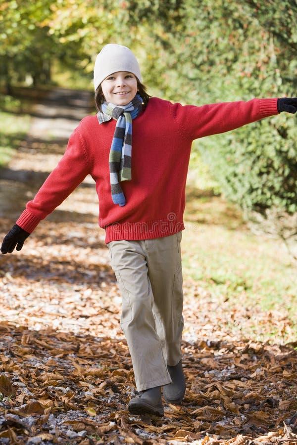 Muchacho joven que juega en maderas foto de archivo libre de regalías