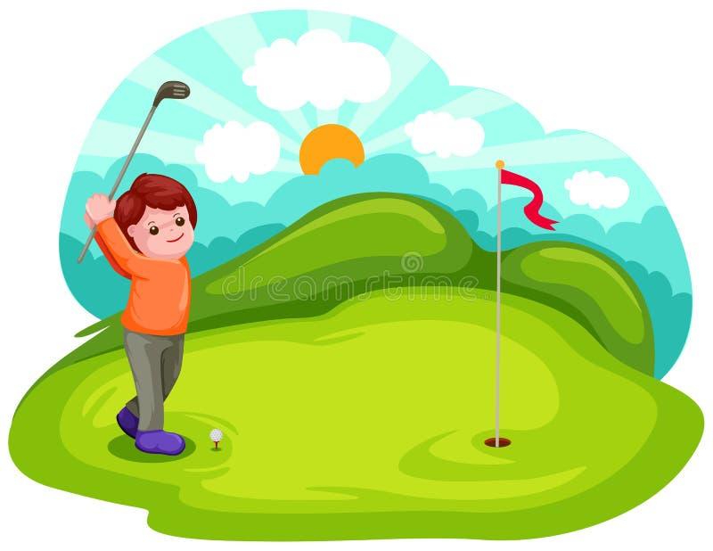 Muchacho joven que juega a golf ilustración del vector