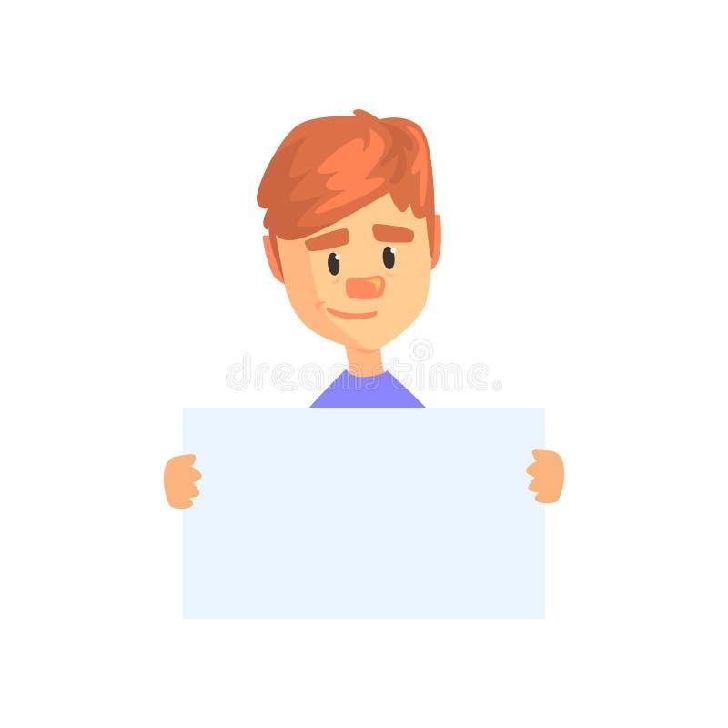 Muchacho joven que sostiene el papel en blanco aislado en blanco Carácter del niño de la historieta con el pelo marrón y la expre libre illustration